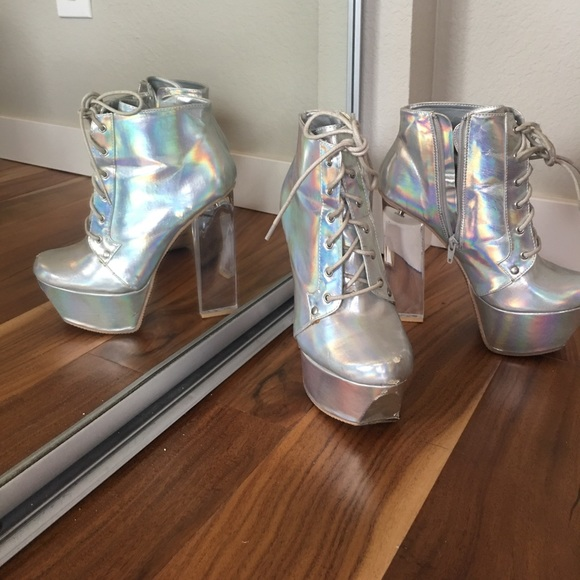 23a1eb9893 Holographic platform high heel bootie. M_59a188a3f739bcbea500b3ad