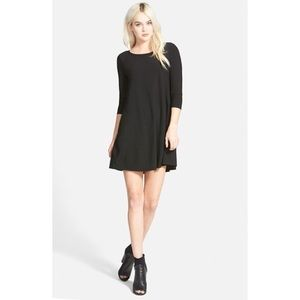 Leith black 3/4 long sleeve trapeze swing dress