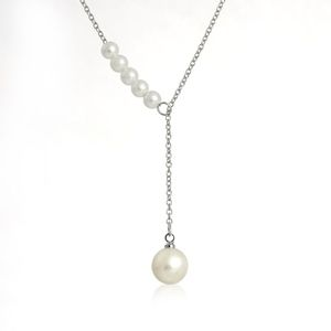 Jewelry - Lariat Pearl Lariat Style Necklace Silver Chain