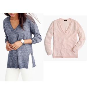 J. Crew Light Pink Merino-Linen V-Neck Sweater S