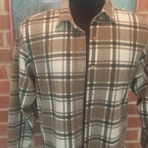 Tops - Textured plaid grey and brown shirt