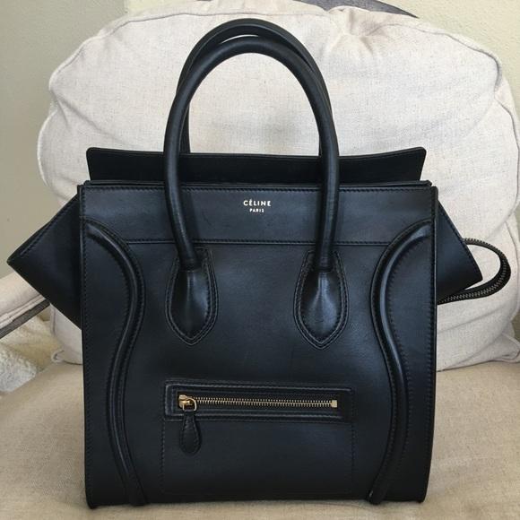 7d4a8b61a140 Celine Handbags - Celine mini luggage bag in black smooth calfskin