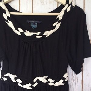 French Connection black white braid dress