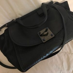 COACH dark blue leather and suede bag (almost new)