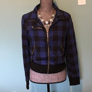 Plaid Bomber Jacket Medium Blue Black Moto