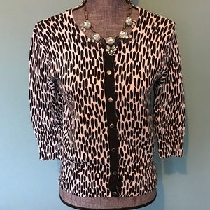 Michael Kors Cardigan Sweater Animal Print Petite