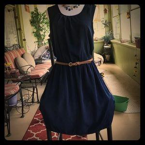 Navy blue casual sleeveless dress