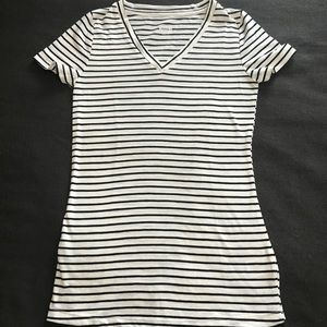 Black and Cream Striped V-Neck Tee