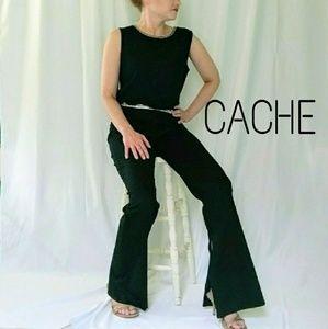 CACHE flare w/ Rhinestone waist