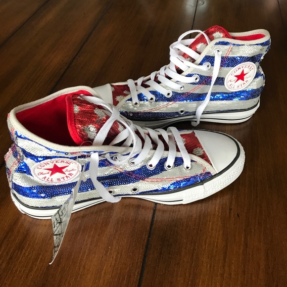 Chuck Taylor Red White   Blue Sequined High Tops 04600e76e