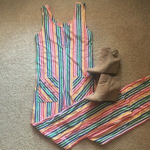 Vintage sleeveless striped bodysuit jumpsuit