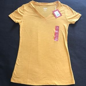 Mustard Yellow V-Neck Tee NWT
