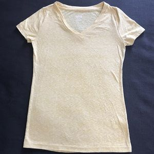 Yellow Heathered V-Neck Tee