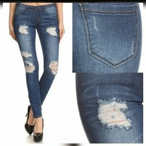 Dark Blue Distressed Skinny Pocket Jeans