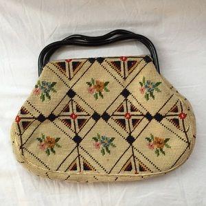 Handbags - Unique Vintage 1960s Cross Stitch Handbag