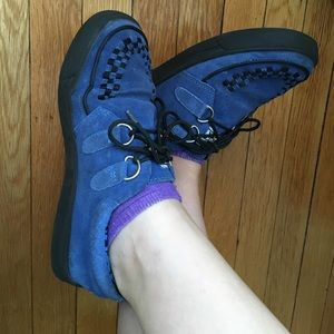 fbb3f60fc6800 T.U.K Shoes | Vintage Blue Suede Singlesole Creeper Sneakers | Poshmark