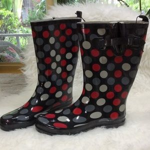 Beautiful polkadot ladies rain boots.  NWOT
