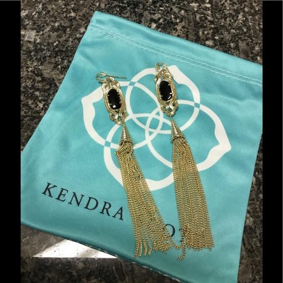 b5ac2934b Kendra Scott Jewelry - Kendra Scott Black Erin Tassel Earrings
