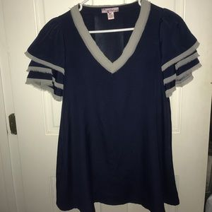 Tops - Navy Top with Gray Detail