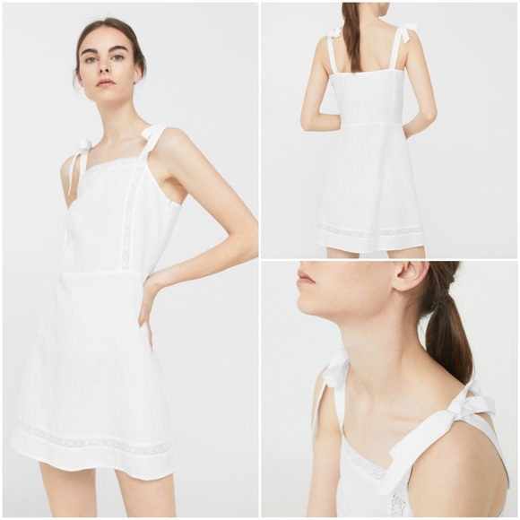 544eef9fd6 MANGO BOW LINEN DRESS REF. 13010652 - Blanco