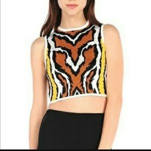 Torn by Ronny Kobo Katya Leopard Print Crop Top L