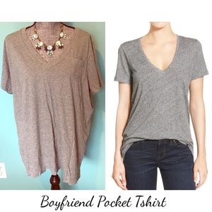 Gray Boyfriend Tshirt Pocket Tee Short Sleeve 3X
