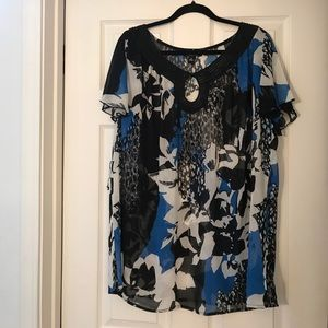 AGB blue, black and white sheer tunic!