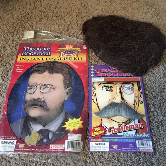 Theodore Roosevelt Costume Accessory Kit 3 Pc Brown Wig Mustache /& Glasses