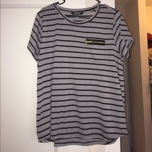 Grey with black stripes shirt