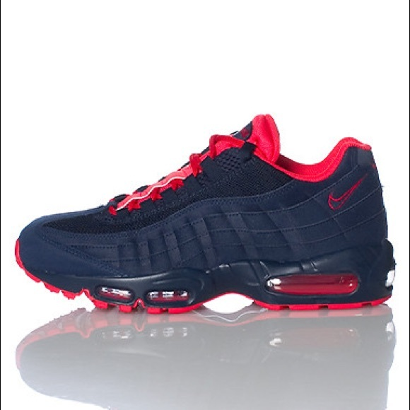Nike Air Max 95 Obsidian Navy Blue Suede & Red