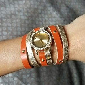 Accessories - Leather wrap wrist watch with rhinestones