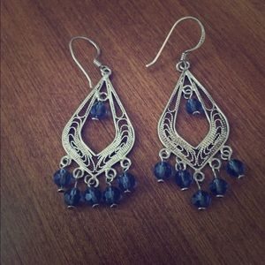 Jewelry - Silver earrings with blue beads