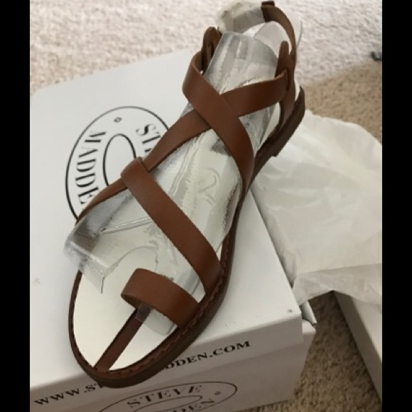 66271df20a3 Steve Madden Agathist Cognac Leather Sandals