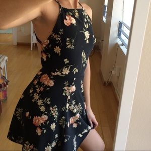 Brandy Melville floral backless strappy mini dress