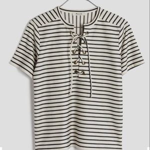 LOWEST!! Madewell Lace Up Striped Top