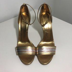 10f1927eed7 Gucci Shoes - Gucci gold metallic sandal heels
