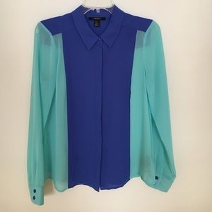 Forever 21 colorblock blue and teal blouse