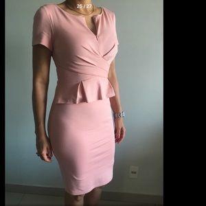 1591aace sundance boutique Dresses - Blush color crossover peplum waist sheath dress