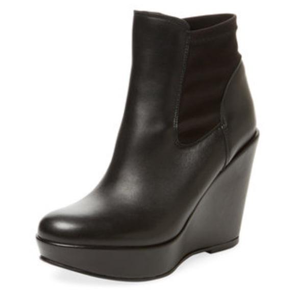 Black Leather Wedge Bootie   Poshmark
