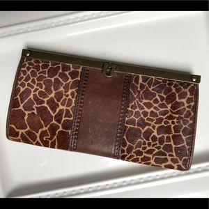Fossil Giraffe Print Clutch Wallet w/ Cow Hide