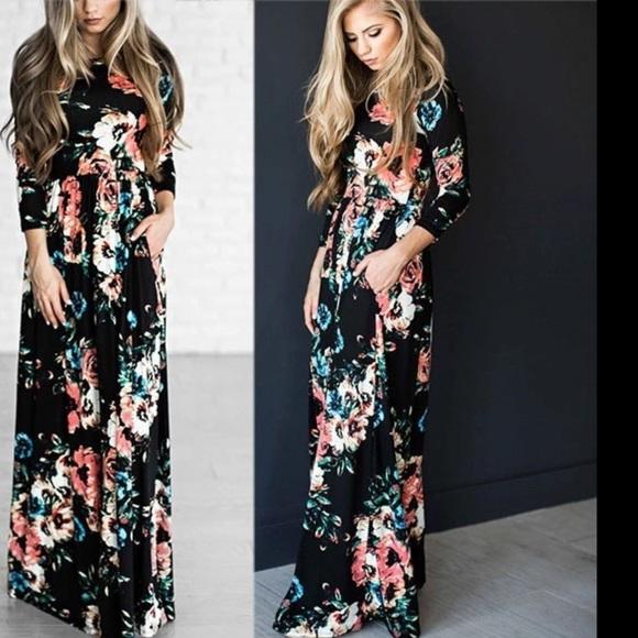 a1da2b742a7 Knit long sleeve maxi dress black floral prints