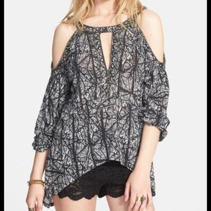 NWT Free People Black Cold Shoulder Top