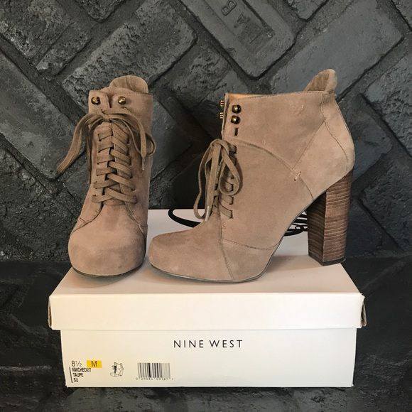 Nine West Checkit Taupe Lace Up Booties
