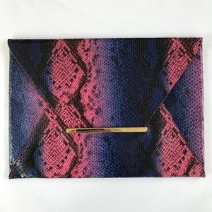 BCBG MAXAZRIA Pink and Purple Faux Python Clutch