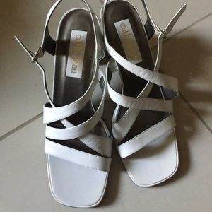 Cathy Jean strappy white shoes