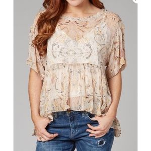 Free People Say You Will Top Ivory Flowy Blouse S