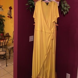Ashley Stewart Dresses - Ashley Stewart yellow wrap dress 18/20(sale)