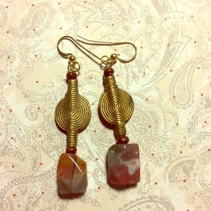 Dangle Earrings Jasper and African Baule