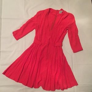 Asos Pink 3/4 Dress V Neck Flare Bottom