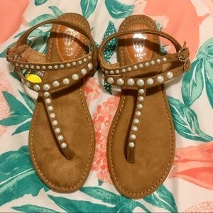 ⚡️Brown Sandals with Pearls✨